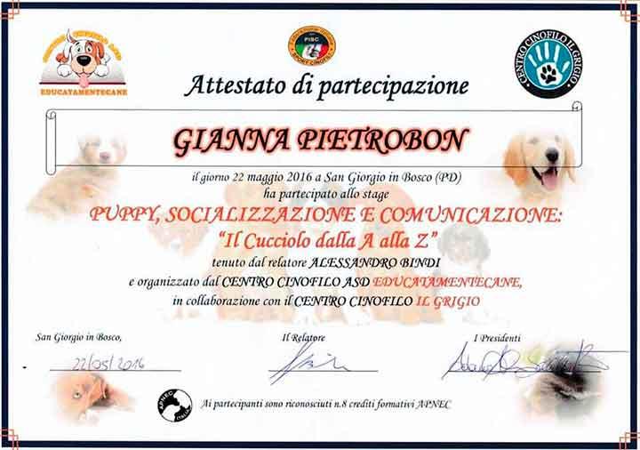 educatore-cinofilo-treviso-gianna-pietrobon-attestato-2016